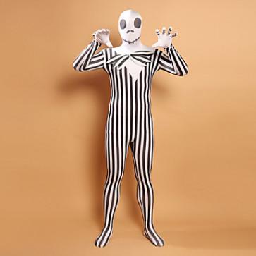 Black and White Stripes Zombie Head Lycra Zentai