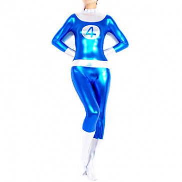 Blue and Silver Shiny Metallic Women Spandex Catsuit