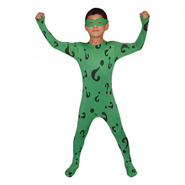 Child Green Question Mark Lycra Zentai With Eye Mask