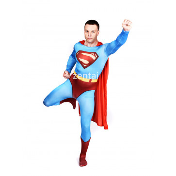 Halloween Superman Full Body Spandex Lycra Blue Zentai Suit