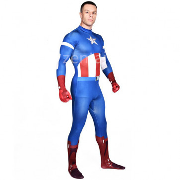 Halloween The Avengers Captain America Full Body Zentai Suit