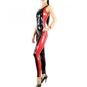 Sleeveless Red and Black Mixed Color Women PVC Catsuit