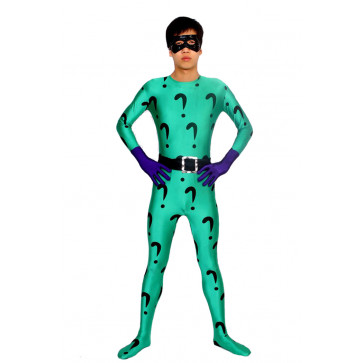 The Riddler Full Body Spandex Lycra Cosplay Zentai Suit