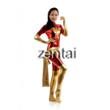 X-man Red Phoenix Marvel Girl Shiny Metallic Zentai Suit