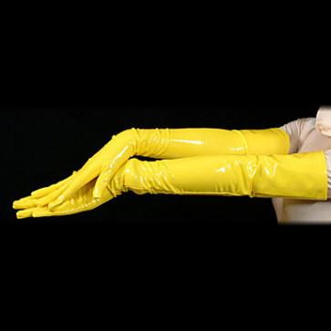 Yellow Sexy PVC Gloves