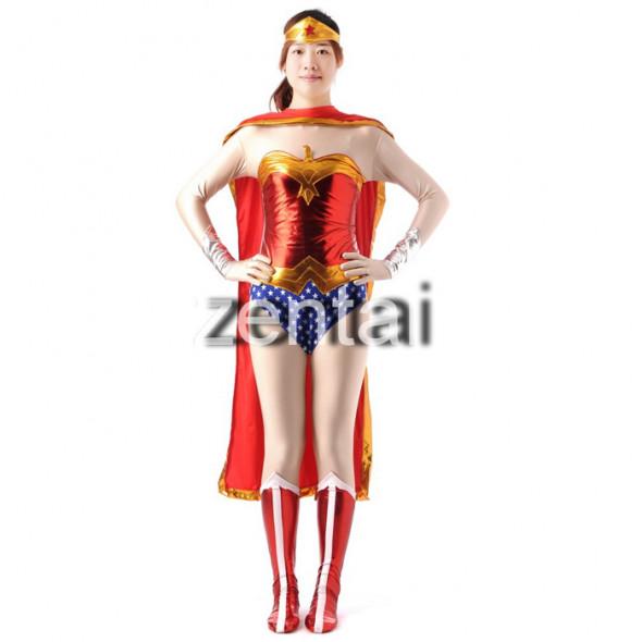 Female Captain America Shiny Metallic Zentai Suit