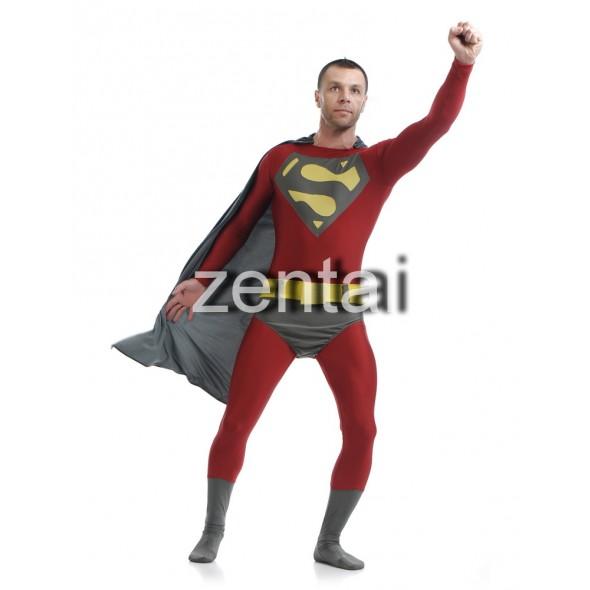 Red Superman Full Body Spandex Lycra Zentai Suit