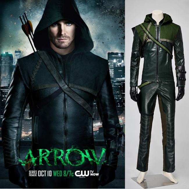 Green Arrow Super Hero Oliver Queen Cosplay Suit Uniform 3b9bec8dd