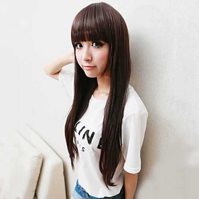 hime style hair japanese hime cut wig brown 80cm 4369