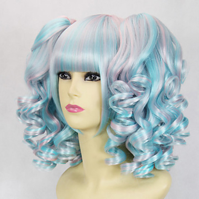 Sky Blue and Pink Curly Pigtails 45cm Sweet Lolita Cosplay Wig 4e592c442