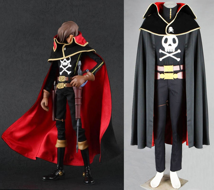 Captain Harlock Costume/ Anime Space Pirate Captain Harlock Cosplay Costume Outfit
