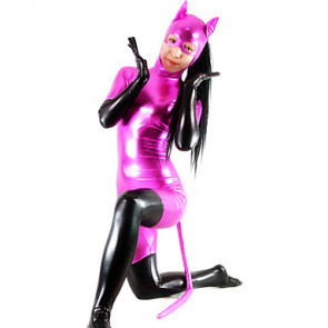 Black and Fuschia Shiny Metallic Women's Catsuit