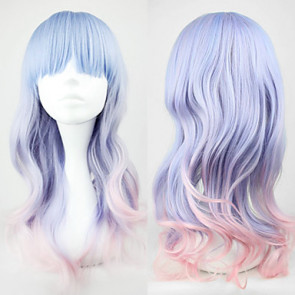 Blue and Pink Mixed Color 55cm Sweet Lolita Wave Wig