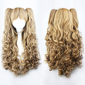 Brown Gradient Cute Double Ponytail 70cm Princess Lolita Curly Wig