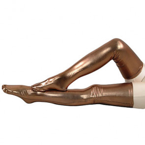 Brown Shiny Metallic Stockings