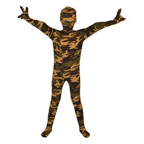 Child Green and Camouflage Mixed Color Lycra Zentai
