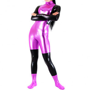 Fuschia and Black Shiny Metallic Women Spandex Catsuit