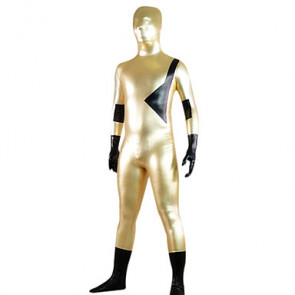 Golden and Black Mixed Color Shiny Metallic Zentai