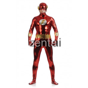 Halloween Flashman Full Body Shiny Metallic Zentai Suit
