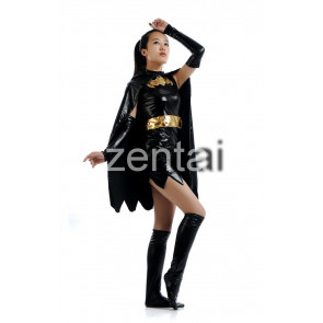 Female Batman Shiny Metallic Zentai Suit