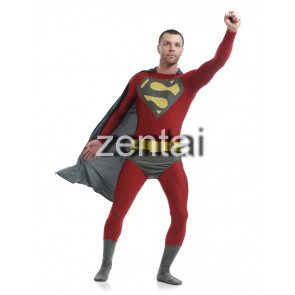 Red Superman Full Body Spandex Lycra Zentai Suit