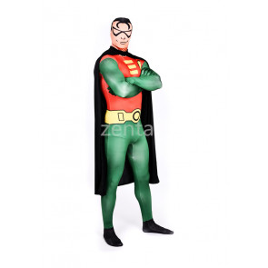 Superman Full Body Spandex Lycra Green and Red Zentai Suit