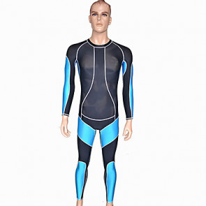 Long Sleeve Black and Blue Spandex Nylon Men's Catsuit
