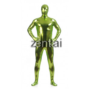 Man's Full Body Fluorescent Green Color Shiny Metallic Zentai