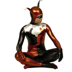 Red and Black Clown Shiny Metallic Zentai