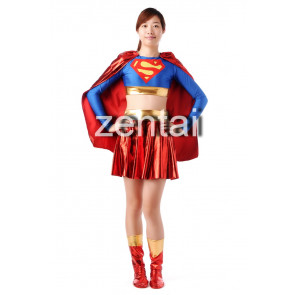 Red and Blue Shiny Metallic Women Superman Zentai Suit