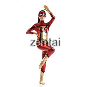 Sexy Champagne Batman Full Body Shiny Metallic Zentai Suit