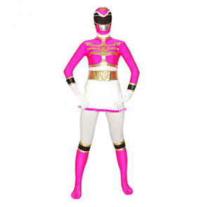 White and Fuschia Super Hero Lycra Zentai Suit