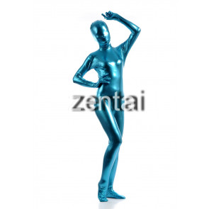 Woman's Full Body Blue Color Shiny Metallic Zentai
