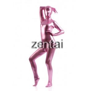 Woman's Full Body Light Purple Color Shiny Metallic Zentai