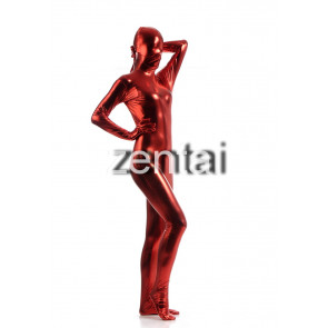 Woman's Full Body Red Color Shiny Metallic Zentai