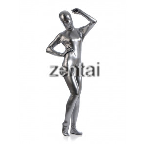 Woman's Full Body Silver Gray Color Shiny Metallic Zentai