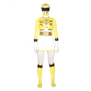 Yellow and White Super Hero Lycra Zentai Suit