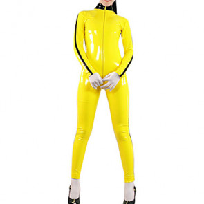 Yellow Shiny Metallic Women Catsuit