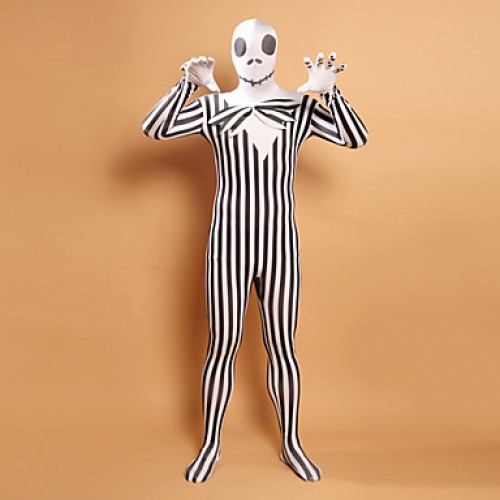 Black and White Stripes Zombie Head Lycra Zentai