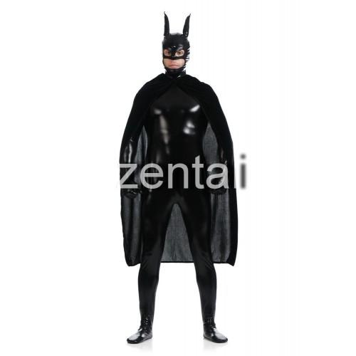 Black Batman Full Body Shiny Metallic Zentai