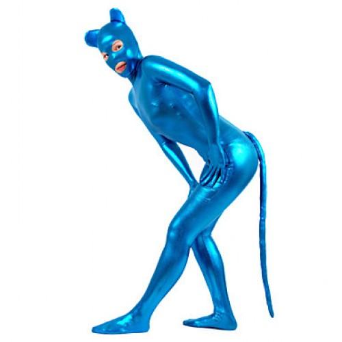 Blue Color Shiny Metallic Women Catsuit