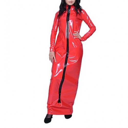 Floor-length Long Sleeve Red PVC Dress