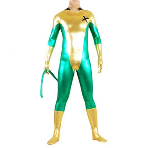 Golden and Green Mixed Color Shiny Metallic Spandex Catsuit with Tail