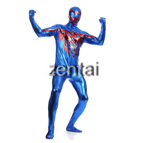 Spiderman Blue Color Shiny Metallic Cosplay Zentai Suit