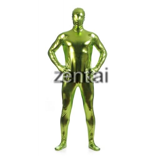 Man's Full Body Fluorescent Green Color Shiny Metallic Zentai