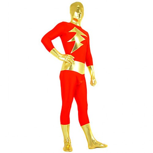 Red and Golden Mixed Color Spandex Zentai