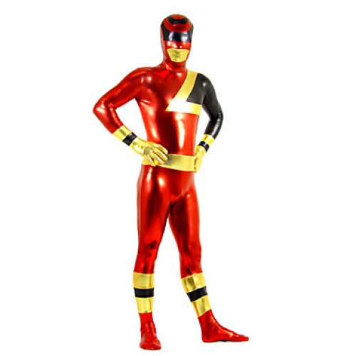Red Golden Black Mixed Color Zentai Suit