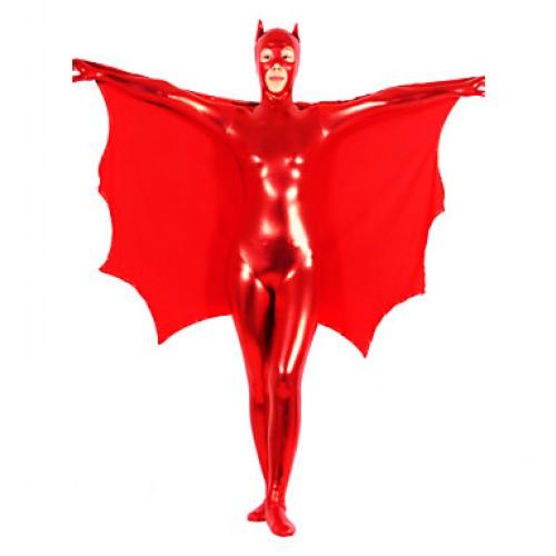 Red Pure Shiny Metallic Women Batman Zentai