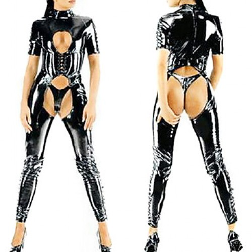 Sexy Black Shiny Metallic PVC Catsuit
