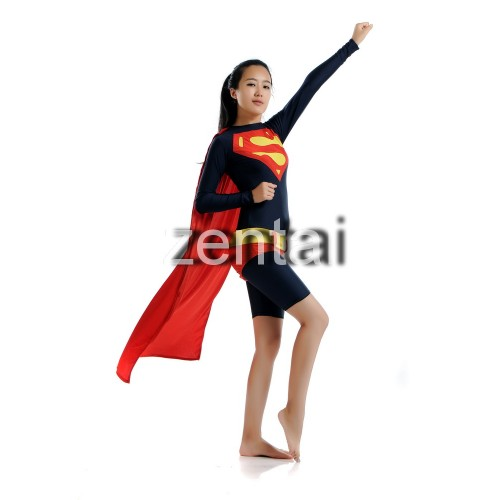 Sexy Female Superman Full Body Spandex Lycra Black Zentai Suit